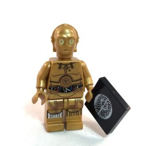 C-3PO LEGO Minifig Star Wars A New Hope Silver Leg - Front